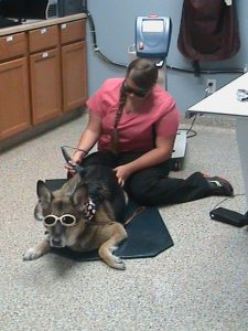 Don't I look cool wearing my glasses while I receive my laser treatment.